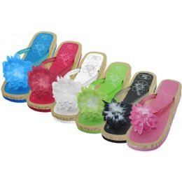 48 Units of Women's Silk Flower Top Slide Flip Flops - Women's Flip Flops