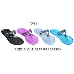 36 Units of Ladies Jelly Sanadal With Large Stones - Women's Sandals