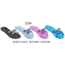 36 Units of Ladies Jelly Sandal With Stones - Women's Sandals