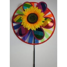 "60 Units of 14"" Round Wind Spinner-Rainbow & Sunflower - Wind Spinners"