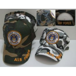36 Units of Camo Air Force with Shadow Hat [Air Force on Bill] - Baseball Caps & Snap Backs