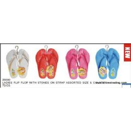 72 Units of Ladies Basic Flip Flop With Stones - Women's Flip Flops