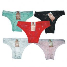 96 Units of LADYS PANTY W/HANGER ASSORTED - Womens Panties & Underwear