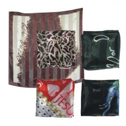 96 Units of 38IN X 36IN SILK SCARF ASSORTED DESIGN AND COLORS - Womens Fashion Scarves