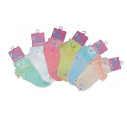 48 Units of LACE FLOWER ANKLE SOCKS ASSORTED SIZES ASSORTED COLORS - Girls Crew Socks