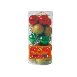 72 Units of 20 PC XMAS BALLS MULTI COLORS - Christmas Ornament