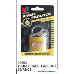 72 Units of 40MM BRASS PADLOCK - Padlocks and Combination Locks