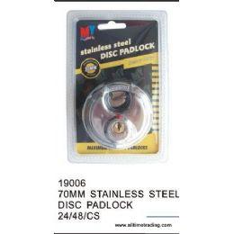 48 Units of 70MM STAINLESS STEEL DISC PADLOCK - Padlocks and Combination Locks