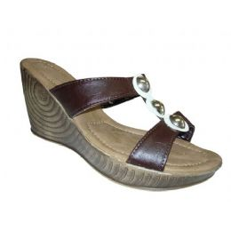 24 Units of Lady Three Button Wedge - Women's Sandals