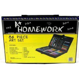 12 Units of Art Set Carry Case 86 Piece - Art Paints