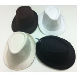 24 Units of Fedora Hat-Solid Colors - Fedoras, Driver Caps & Visor
