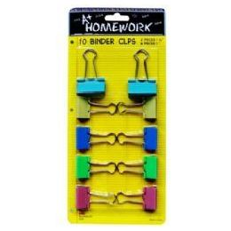 48 Units of Binder Clips - 10 Pk - 1-2pcs +.75-8pcS- Carded - Clips and Fasteners