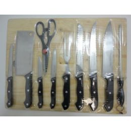 24 Units of 11pc Kitchen Knife Set with Cutting Board - Kitchen Utensils