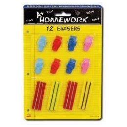 48 Units of Erasers - 12 pk - 4 Rectangular + 8 Cap - Asst. Colors - Erasers