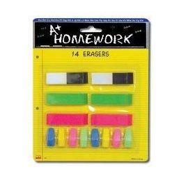48 Units of Erasers - 14 pk - 6 Beveled + 8 Cap-Asst.Cls. - Erasers