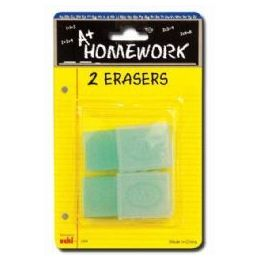 48 Units of Erasers - 2 Pk -1.75 Ea.- With Plastic Holders - Erasers