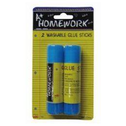 48 Units of Glue Sticks - Washable - .50 oz ea - 2 pack - Glue Office and School