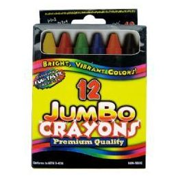 48 Units of Jumbo Crayons - 12 pk - Hang Bag - Asst. Cls. - Chalk,Chalkboards,Crayons