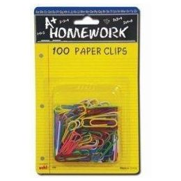 48 Units of Paper Clips - 100ct.-1.25 - Vinyl Asst.Cls. - Carded - Clips and Fasteners