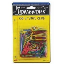 48 Units of Paper Clips - 100ct.-2 - Vinyl Asst.Cls. - Carded - Clips and Fasteners