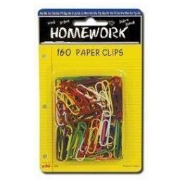 48 Units of Paper Clips - 160ct.-1.25 - Vinyl Asst.Cls. - Carded - Clips and Fasteners