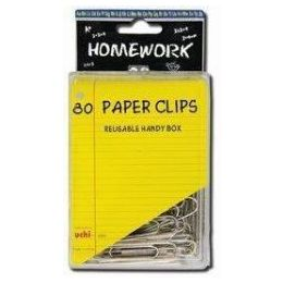 48 Units of Paper Clips - 80ct.- 2inch - Silver Metal -Plastic Boxed - Clips and Fasteners