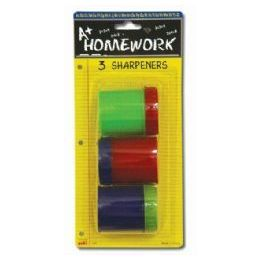 48 Units of Sharpeners - Pencil - Round - 3 pack - Sharpeners