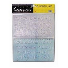 96 Units of 2 Pack Alphabet And Numbers Stencils - Craft Tools