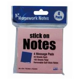 48 Units of Stick On Notes 3x3 4pk 40 Sheet Ea 160 sheets total, 4 Colors - Sticky Note & Notepads