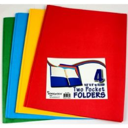 48 Units of Two Pocket Folders - W/3 Fastners -Asst Cls -4 Pack Bag - Folders and Report Covers