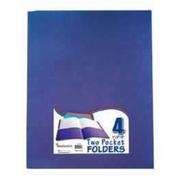 48 Units of Two Pocket Folders -8.5 X 11 - Asst.colors -4 Pack Bag - Folders and Report Covers