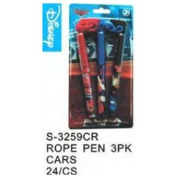 96 Units of Cars Pens On a Rope 3 Pack - Licensed School Supplies