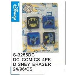 96 Units of DC Comics 4pack Eraser - Licensed School Supplies