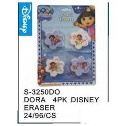 96 Units of Dora 4pack Eraser - Licensed School Supplies