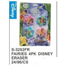 96 Units of Fairies 4pack Eraser - Licensed School Supplies