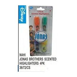 72 Units of Jonas Bros Scented Highlighters 4 Pack - Licensed School Supplies