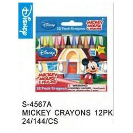 144 Units of Mickey Mouse Crayons - Licensed School Supplies