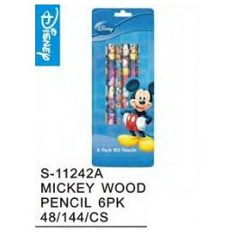 144 Units of Mickey Wood Pencils 6 pack - Licensed School Supplies