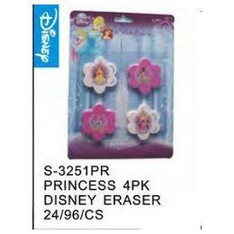 96 Units of Princess 4pack Eraser - Licensed School Supplies