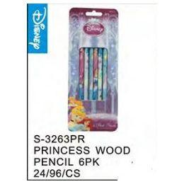 96 Units of Princess 6Pack Wood Pencils - Licensed School Supplies