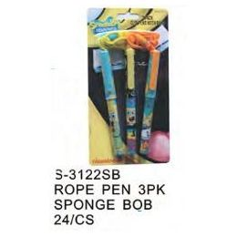 96 Units of Spongebob Pens On a Rope 3 Pack - Licensed School Supplies