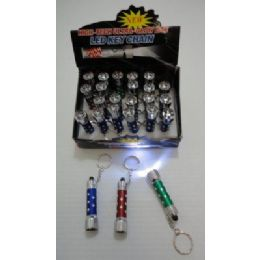 "288 Units of 2.5"" Mini Sparkle 5 Led Light Key Chain - Key Chains"