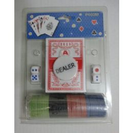 72 Units of Card/Dice/Poker Chip Set - Playing Cards, Dice & Poker