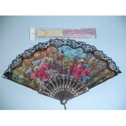 200 Units of Folding Fan With Lace - Home Decor