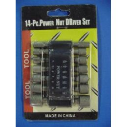 96 Units of 14pc Power Nut Driver Set - Drills and Bits