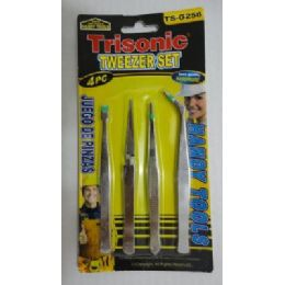 72 Units of 4pc Stainless Tweezer Set - Personal Care Items