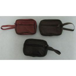 72 Units of 3 Compartment Change Purse-Wrist Strap - Leather Purses and Handbags