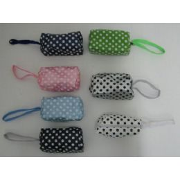 144 Units of Change Purse with Wrist Strap-Polka Dots - Leather Purses and Handbags
