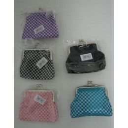 144 Units of Snap-Close Change Purse-Metallic Checkered - Leather Purses and Handbags