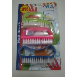 24 Units of 3pcs Plastic Nail Brush - Manicure and Pedicure Items